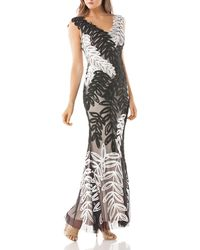 JS Collections - Embroidered Leaf Gown - Lyst