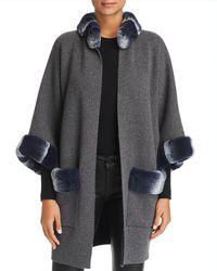 Maximilian Rabbit Fur Trim Cashmere Cardigan - Gray