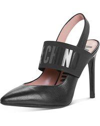 Moschino Logo Slingback Court Shoes - Black