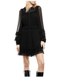 The Kooples Chiffon Ruffled Mini Dress - Black