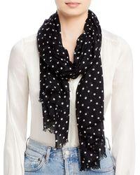 Bloomingdale's Aqua Wool Dot Scarf - Black