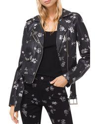 MICHAEL Michael Kors - Metallic Rose Print Leather Moto Jacket - Lyst