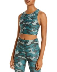 Aqua Athletic Camo Print Knit Sports Bra - Green