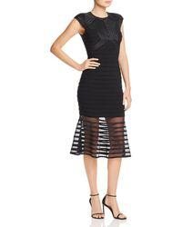 Aqua - Power-mesh Striped Dress - Lyst