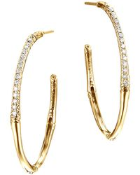 John Hardy - Bamboo 18k Yellow Gold Diamond Pavé Small Hoop Earrings - Lyst