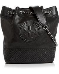 Tory Burch - Fleming Medium Distressed Leather Bucket Bag - Lyst