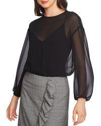 1.STATE Sheer Mixed - Media Bodysuit - Black