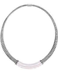 """John Hardy - Sterling Silver Classic Chain White Agate Graduated Necklace, 16"""" - Lyst"""