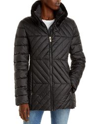 Via Spiga Faux Fur Collar Herringbone Puffer Coat - Black