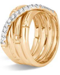 John Hardy - 18k Yellow Gold Bamboo Pavé Diamond Band Ring - Lyst