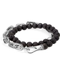 John Hardy | Sterling Silver Classic Chain Wrap Bracelet With Volcanic Rock | Lyst