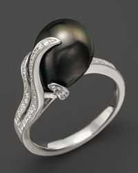 Tara Pearls - Diamond And Tahitian Cultured Pearl Ring - Lyst