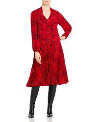 T Tahari Printed Tie Neck Dress - Red