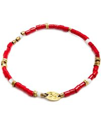 Giles & Brother Tiny Vintage African Beaded Bracelet - Red