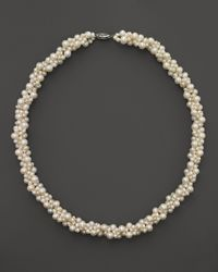 Bloomingdale's - Cultured Freshwater Pearl Woven Necklace In 14k White Gold - Lyst