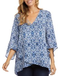 Karen Kane Printed Crossover Hem Top - Blue