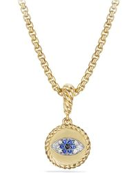 David Yurman 18kt Yellow Gold Amulets Diamond And Sapphire Evil Eye Pendant - Metallic