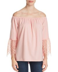 Sioni Lace - Cuff Off - The - Shoulder Top - Pink