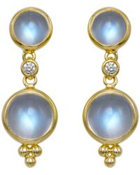 Temple St. Clair Double Drop Earrings With Royal Blue Moonstone And Diamonds In 18k Yellow Gold