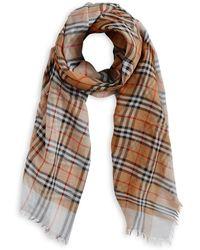 two-tone vintage check cotton square scarf - Yellow & Orange Burberry NTsYUgY4u