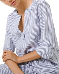 MICHAEL Michael Kors Striped Linen - Blend Tunic Top - Blue
