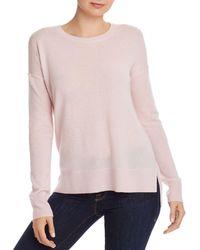 Aqua Cashmere High/low Crewneck Sweater - Pink