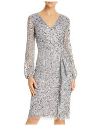 Adrianna Papell Sequined Cocktail Dress - Metallic