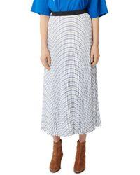 Maje Joray Pleated Maxi Skirt - Blue