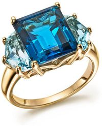 Bloomingdale's - London And Sky Blue Topaz Statement Ring In 14k Yellow Gold - Lyst
