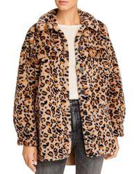 Vero Moda Safari Leopard Print Faux Fur Jacket - Brown