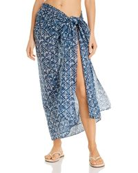 Echo Block Print Wrap Pareo Swim Cover - Up - Blue