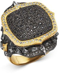 Armenta 18k Yellow Gold & Sterling Silver Old World Pavé Diamond Pointed Cushion Ring With Multi Gemstones - Metallic
