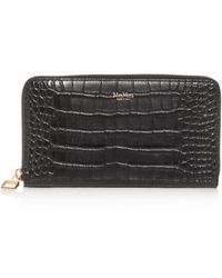 Max Mara Croc - Embossed Leather Continental Wallet - Black