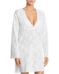 J Valdi Flower Child V - Yoke Lace Tunic Swim Cover - Up - White