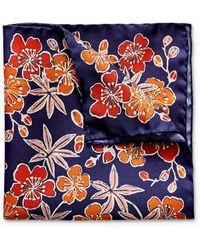 Eton of Sweden Tropical Floral Pocket Square - Blue