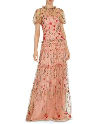 ML Monique Lhuillier Floral Embroidered Gown - Pink