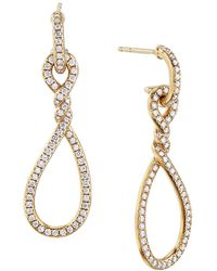 David Yurman - Continuance® Full Pavé Small Drop Earrings In 18k Yellow Gold - Lyst