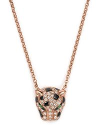Bloomingdale's - Diamond And Tsavorite Jaguar Pendant Necklace In 14k Rose Gold - Lyst