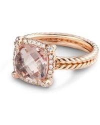 David Yurman Châtelaine® Pavé Bezel Ring In 18k Rose Gold With Morganite - Pink