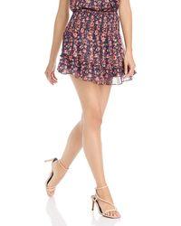 Aqua Smocked Floral Paisley Skirt - Multicolor