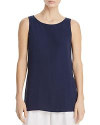 Eileen Fisher System High/low Silk Tunic Tank - Blue