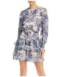 Aqua Toile Print Ruffled Long Sleeve Dress - Blue