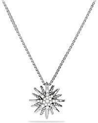 David Yurman - Starburst Small Pendant With Diamonds On Chain - Lyst