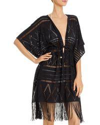 Bleu Rod Beattie Crocheted Caftan Swim Cover - Up - Black