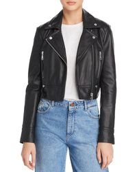 Aqua - Cropped Leather Moto Jacket - Lyst