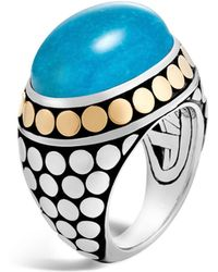 John Hardy | Sterling Silver And 18k Bonded Gold Dot Dome Ring With Turquoise | Lyst