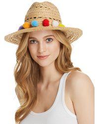 Aqua - Pom-pom Trim Raffia Hat - Lyst
