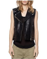 Zadig & Voltaire Lexy Deluxe Leather Vest - Black