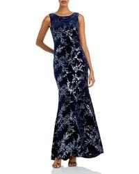 Eliza J Sleeveless Sequin Gown - Blue
