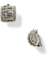 Carolee - Crystal Button Clip-on Earrings - Lyst